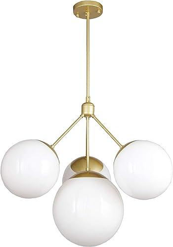 Tetra Globe Chandelier Modern Take on Mid Century Classic 3 Light Gold Orbit Globe Glass Ceiling Lamp 24.8 Inch Wide