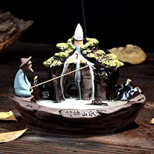 LEAFIS Guilin Incense Ceramic Incense Holder Cones Backflow Incense Burner Holder with 10pcs Incense Cones for Home Office Decor