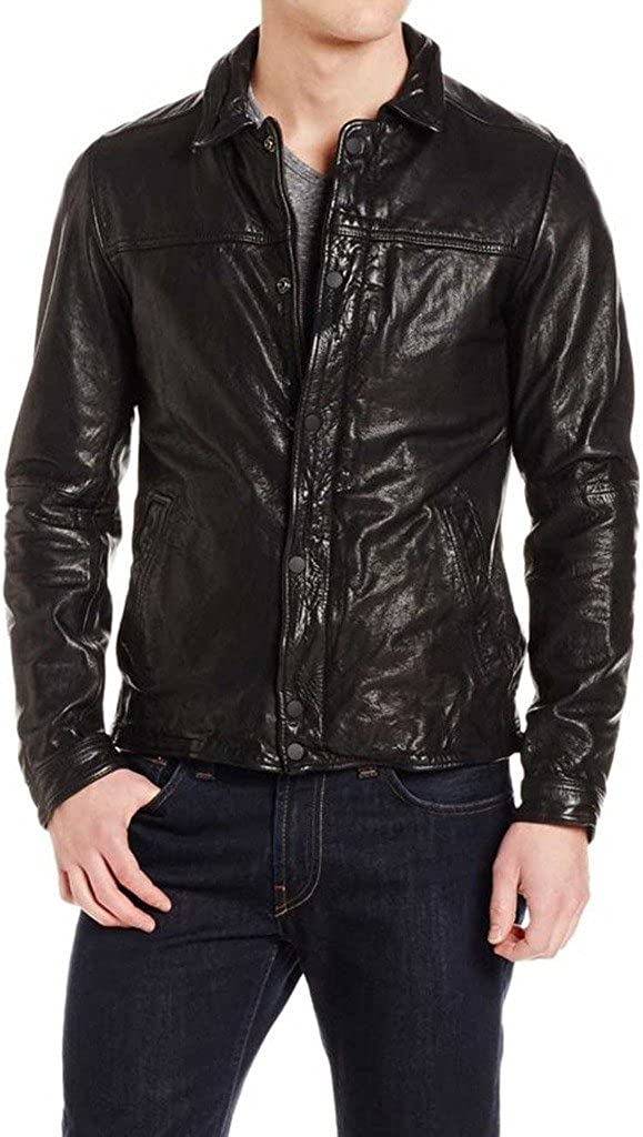 New Mens Biker Lambskin Leather Jacket LT251