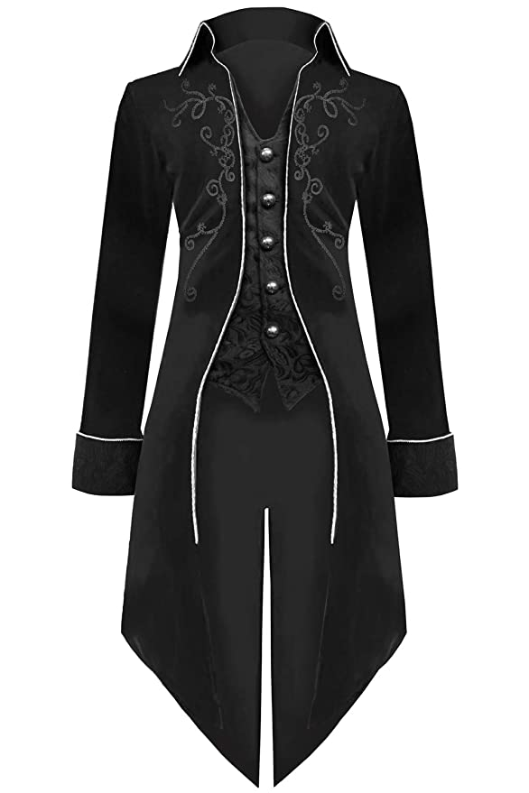 Men's Vintage Style Suits, Classic Suits Medieval Steampunk Tailcoat Halloween Costumes for Men Renaissance Pirate Vampire Gothic Jackets Vintage Warlock Frock Coat $47.99 AT vintagedancer.com