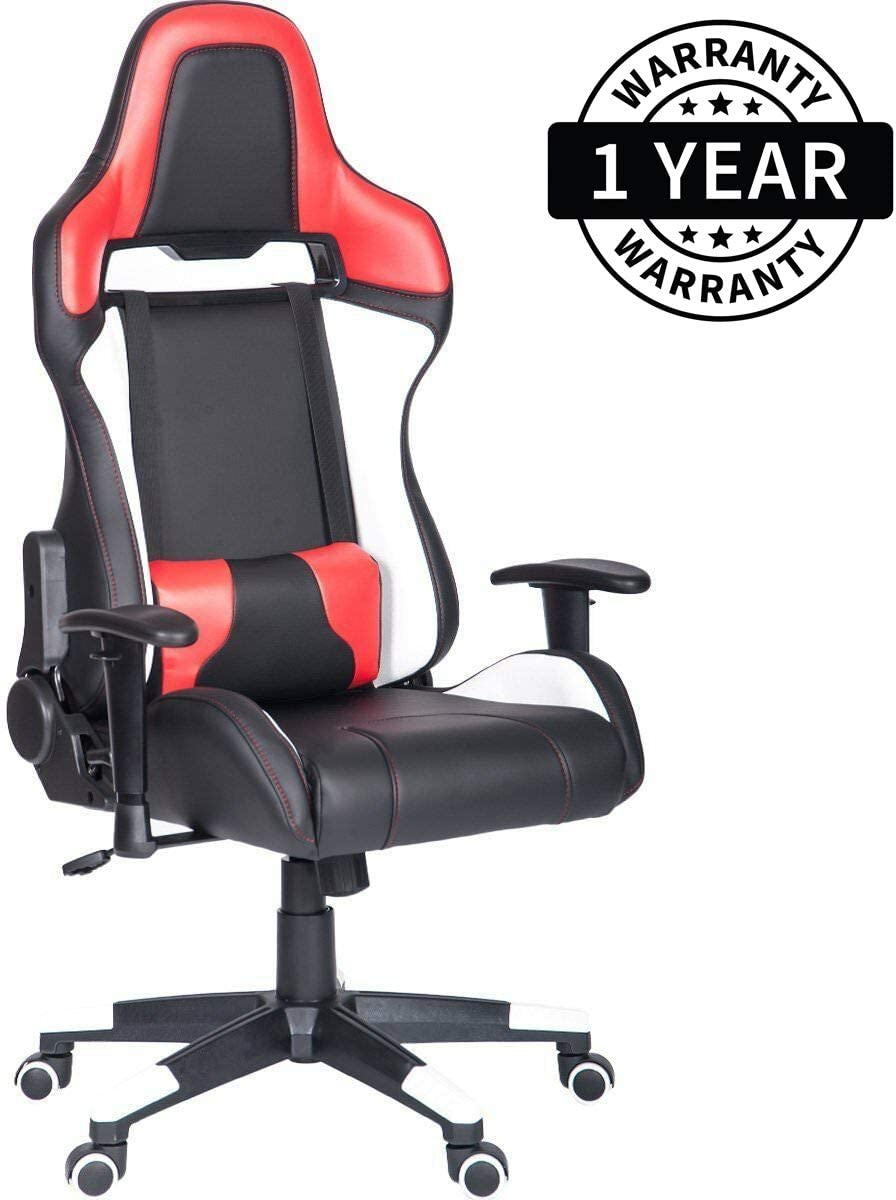 Racing Chair Office Computer Chair Ergonomic Gaming Chairs Home Office Desk Chair Lumbar Headrest Support White Red
