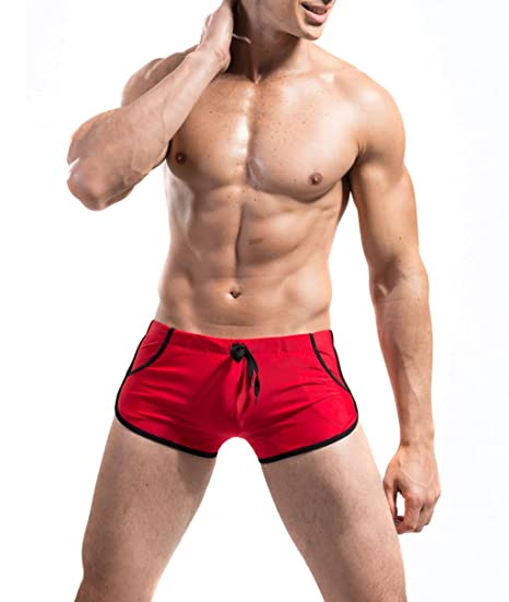 02796d5e74 Amazon.com: DESMIIT Men's Rope Waist Design Swimming Shorts Red US X ...