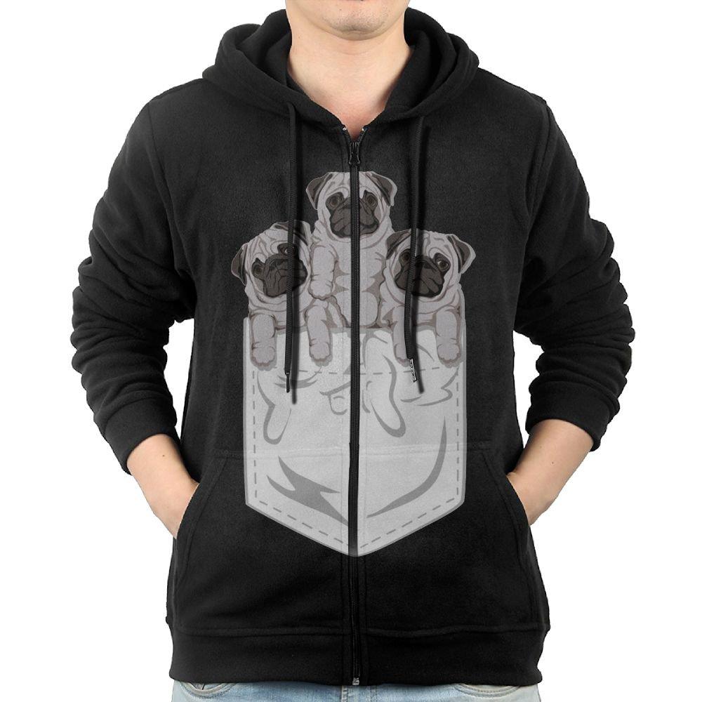 Animal Pocket Pug Dog Sweater Shirt Zipper Jacket Sun Casual Hoodie For Mens Fit Travel Black Large