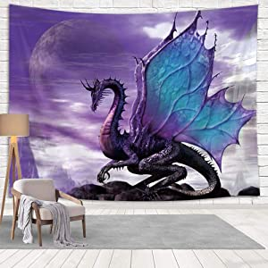 NYMB Medieval Fantasy Theme Wall Art Home Decor, Purple Dragon Tapestry Wall Hanging for Bedroom Living Room Dorm, (90X70in)
