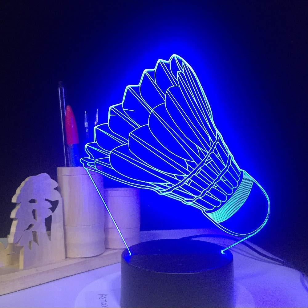 Luz Colores Usb Nocturna Bádminton 7 Hysxm 3d 45jLAR