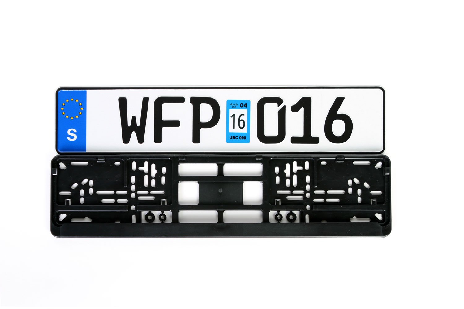 Sweden Euro Plate Package - Plate with Taxation Seal, Frame & Mounting Screws