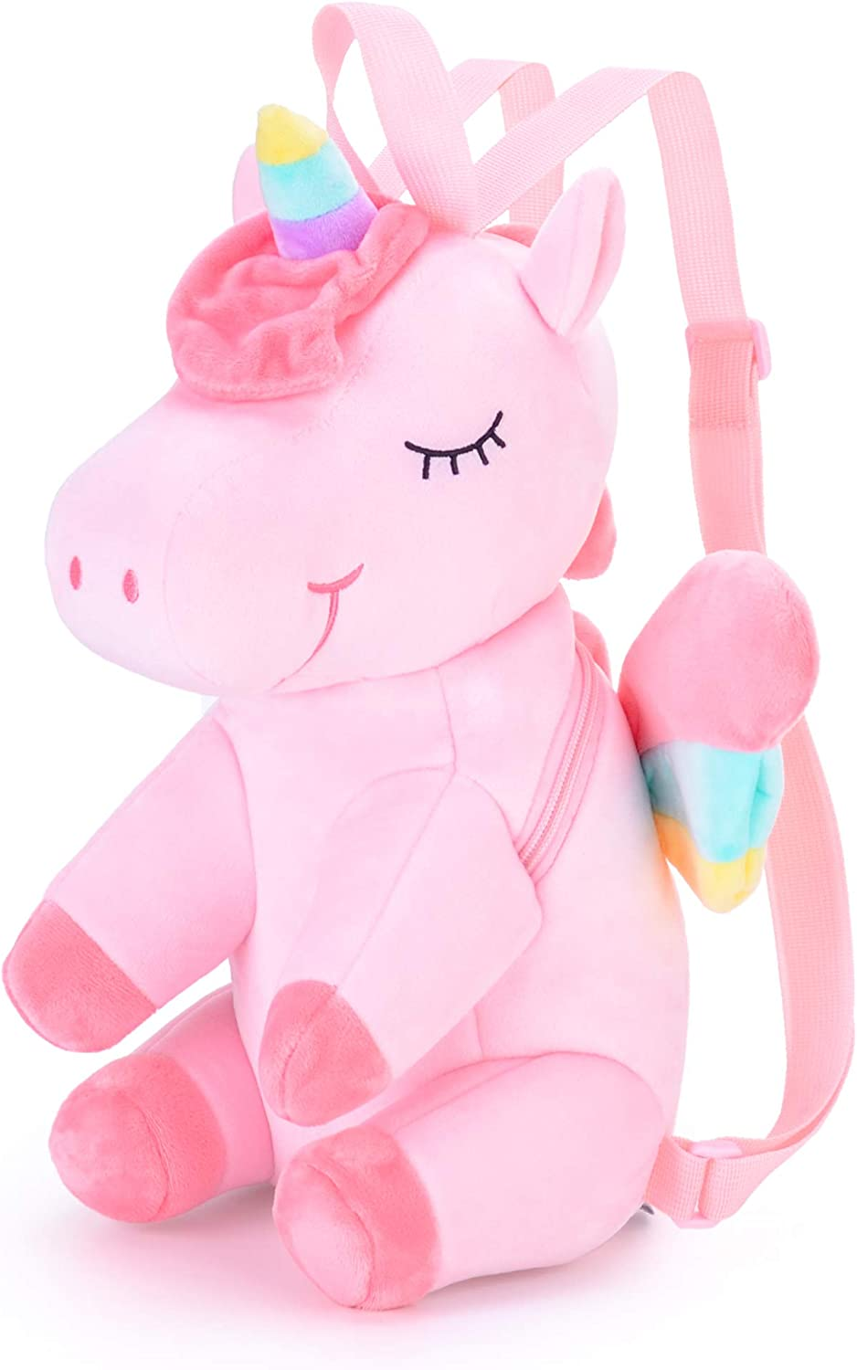 Gloveleya Unicorn Backpack for Girls Kids Backpack Plush Toy Gifts for Kids Baby Napkins Bag Snack backpack Pink 13 Inches