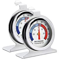 Fridge Thermometer Refrigerator Thermometer,INRIGOROUS Pack of 2 Stainless Steel Dial Fridge/Freezer Thermometer with Hanging Hook and Retractable Stand (Dial Style)
