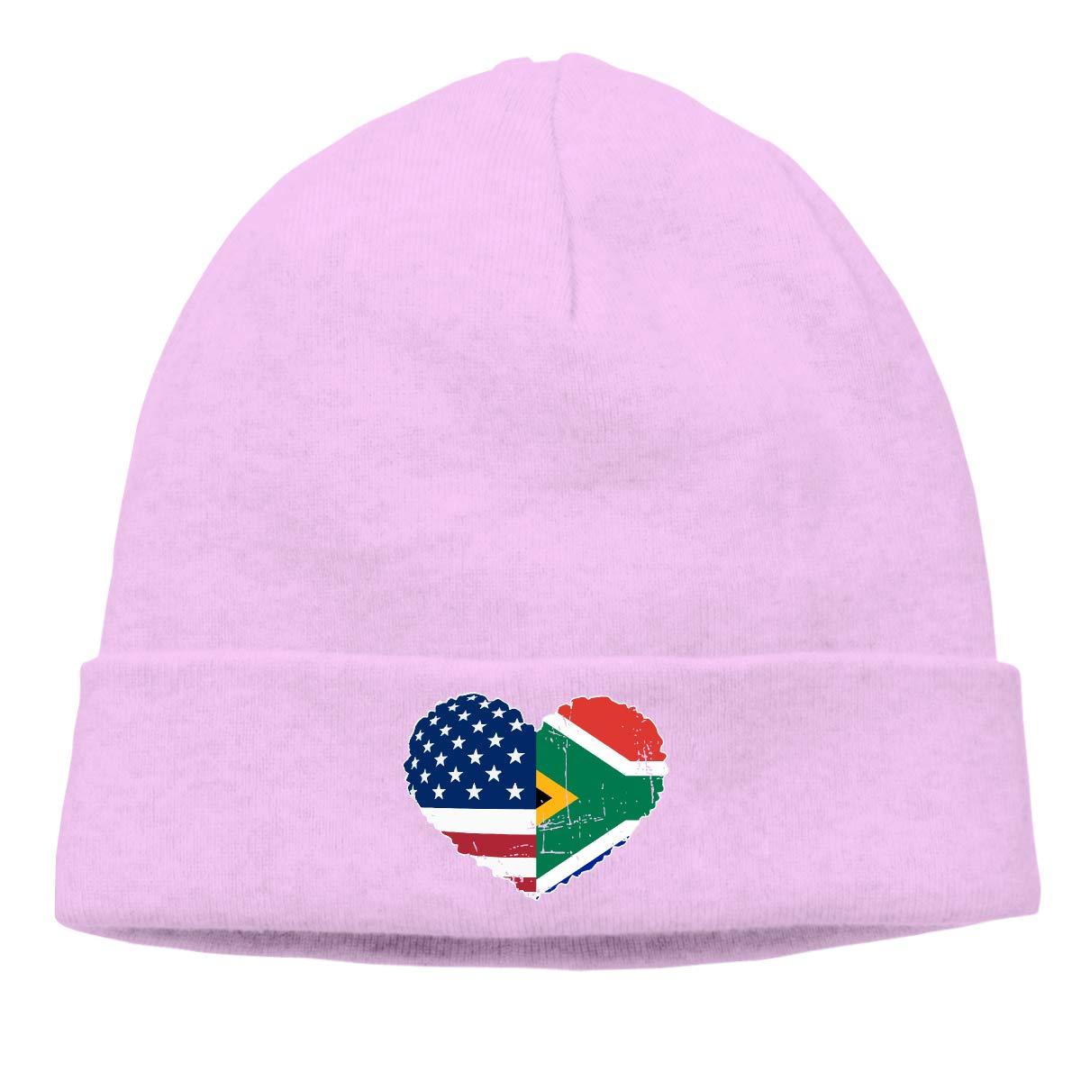 BBlooobow Men Women South African USA Flag Heart Soft Knit Beanie Caps