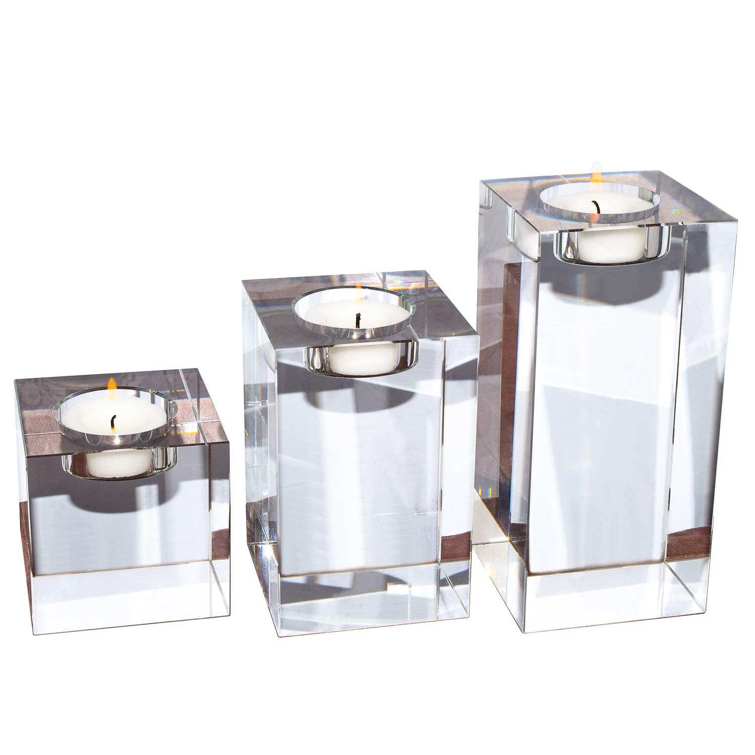 """Amazing Home Large Crystal Candle Holders Set of 3, 3.1/4.7/6.3 inches, Prepackaged Elegant Heavy Solid Square Tealight Holders Set Centerpieces for Wedding, Home Decor and Anniversary (2.7""""x2.7)"""