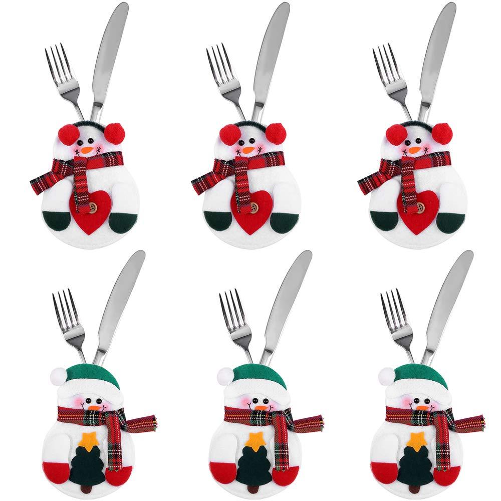 Zogin Lot de 6pcs Porte-Couverts Cuisine Table Serviette Couteaux Fourchette Cuillère en Forme de Costume Bonhomme de Neige Snowman Mignon pour Décoration de Réveillon Noël