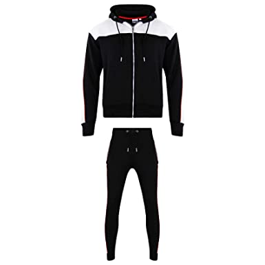 6cd4a9cf SA Fashions Mens Training BOB Hoodie Joggers Gym Suit Top Bottom Full Zip  Up Brushed Football Boxing Martial Art Contrast Exercise Running Set Slim  Fit ...