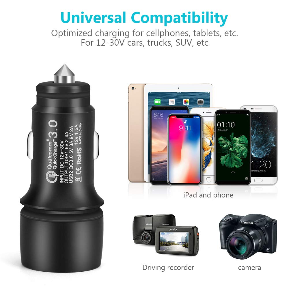 Car Charger Qualcomm Quick Charge 3.0 30W Max Adapter, AVOD Dual USB Port Universal Fast Charger Compatible Samsung Galaxy S10 S9 S8 Plus Note 9 8 S7, ...