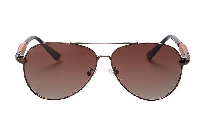 SHINU Flieger-Sonnenbrille aus Metall polarisierte Linse Männer Art und Weise poliert UV400 Schutz Sonnenbrille Sichere 1580 (brown gradient brown) wvTcRwB