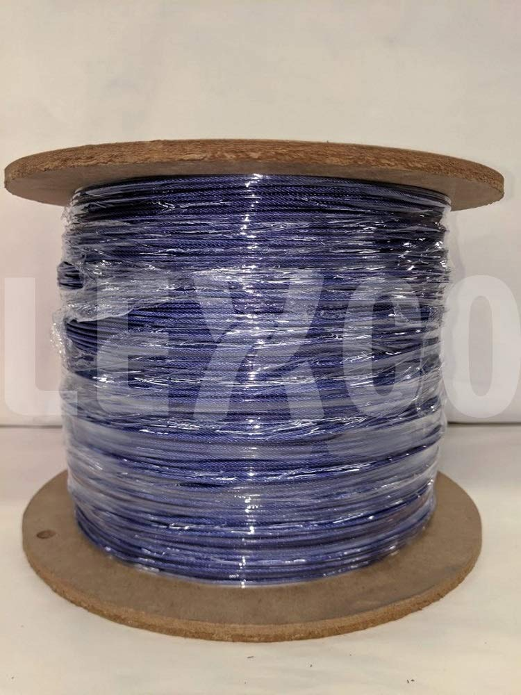 Lexco Cable 1167332CCTP 250' Spool of 3/32'' Translucent Purple PVC Coated 1/16'' 7x7 Galvanized Wire Rope by Lexco Cable