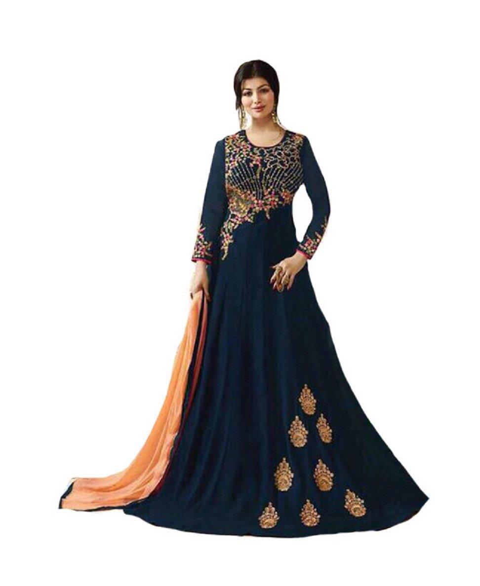 ziya Indian/Pakistani Designer Long Gown Type Style Wear Anarkali Salwar Suit (Navy Blue, L-42)