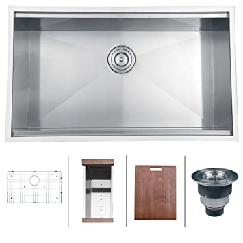 Ruvati Rvh8300 Undermount Ledge 16 Gauge 32 Kitchen Sink Single Bowl