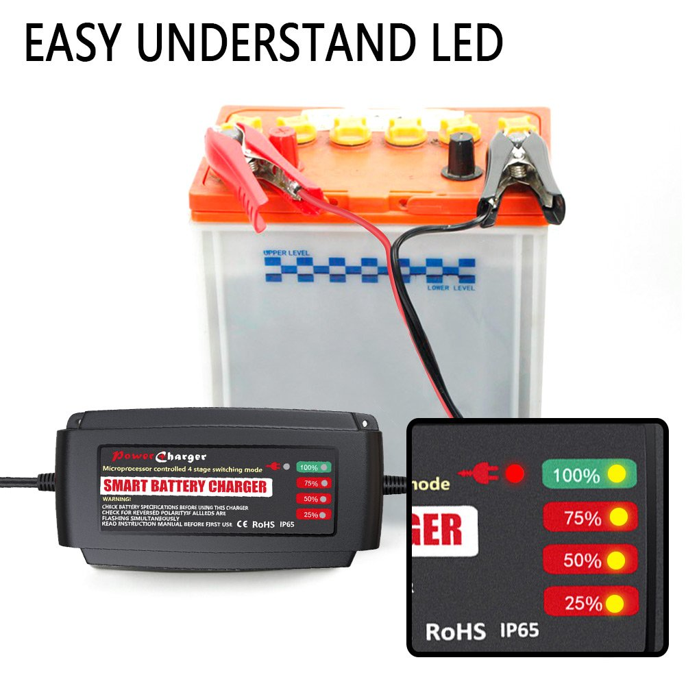 Lst Automatic Battery Charger Maintainer 12v Portable Re 12 V Sla Cutoff Circuit Required Smart Deep Cycle Trickle For Automotive Car Motorcycle Boat Lawn Mower Rv Atv