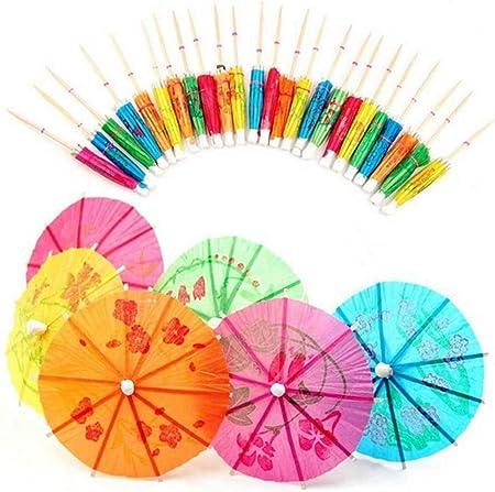 Paquete de 144 paraguas de papel para cóctel.,Las sombrillas de papel miden aproximadamente 10 cm de