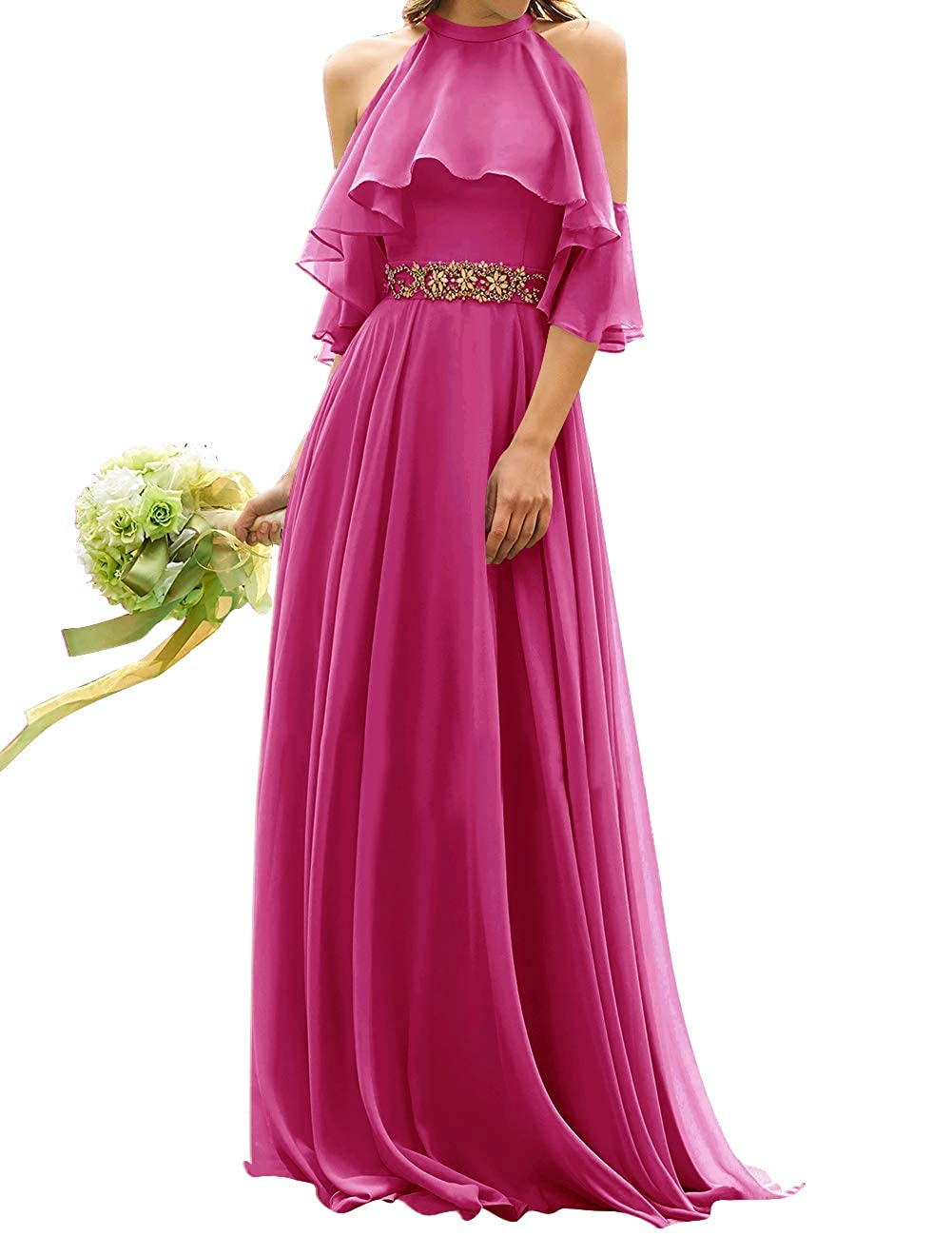 Fuchsia Uther Long Bridesmaid Dress Cold Shoulder Beaded Ruffle Sleeves Wedding Party Dresses