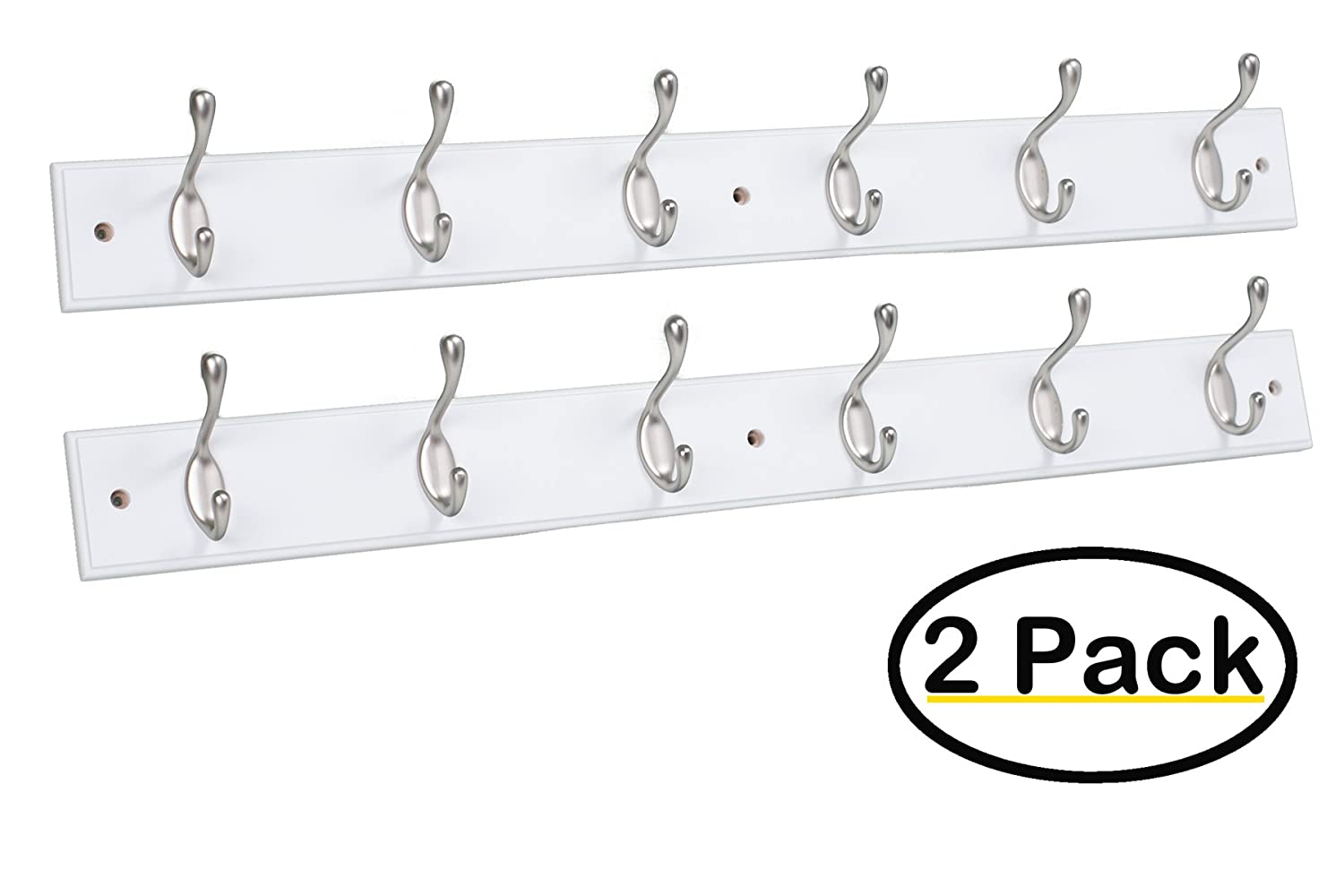 Hook Coat and Hat Rack | 2 Pack | 6 Hooks | 27 Inches | Wall Mount | Decorative Home Storage | Entryway Foyer Hallway Bathroom Bedroom Rail | Satin Nickel Hooks | White Pine Bathroom