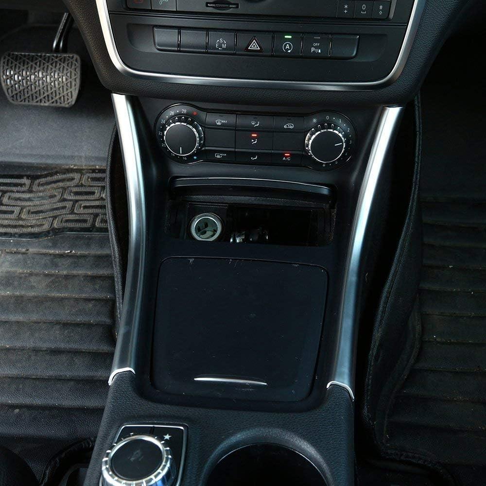 Silver YIWANG 2pcs Carbon Fiber Chrome Center Console Decoration Strips Trim for Mercedes Benz A GLA CLA Class W176 A180