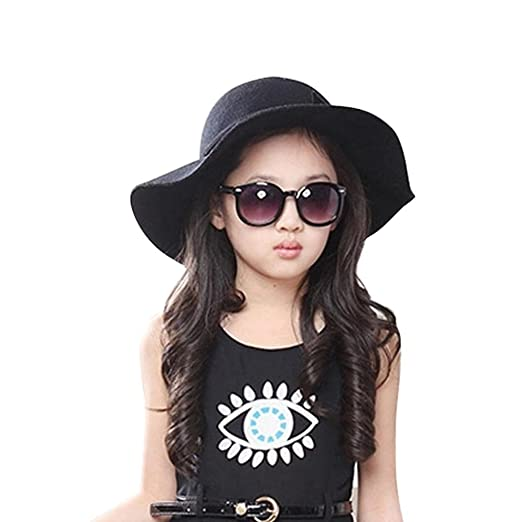67c24d4a5cf FEITONG Kids Worsted Soft Visor Bucket Hat Girl Wave Casquette Sun Hat ( black)