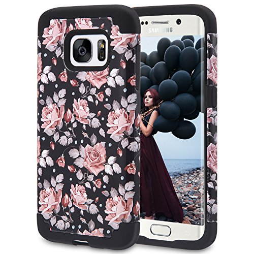Pandawell Compatible Galaxy S7 Case, Pandawell [Corner Protection] Floral Slim Thin Hybrid Dual Layer Shock Absorbing Impact Resist Case Cover for Samsung Galaxy S7 - Flower/Black