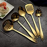 HOMQUEN Stainless Steel Kitchen Utensil Set - Gold 5 Cooking Utensils, Nonstick Kitchen Utensils Set, Include Slotted Turner, Soup Ladle, Spoon, Skimmers, Pasta Server