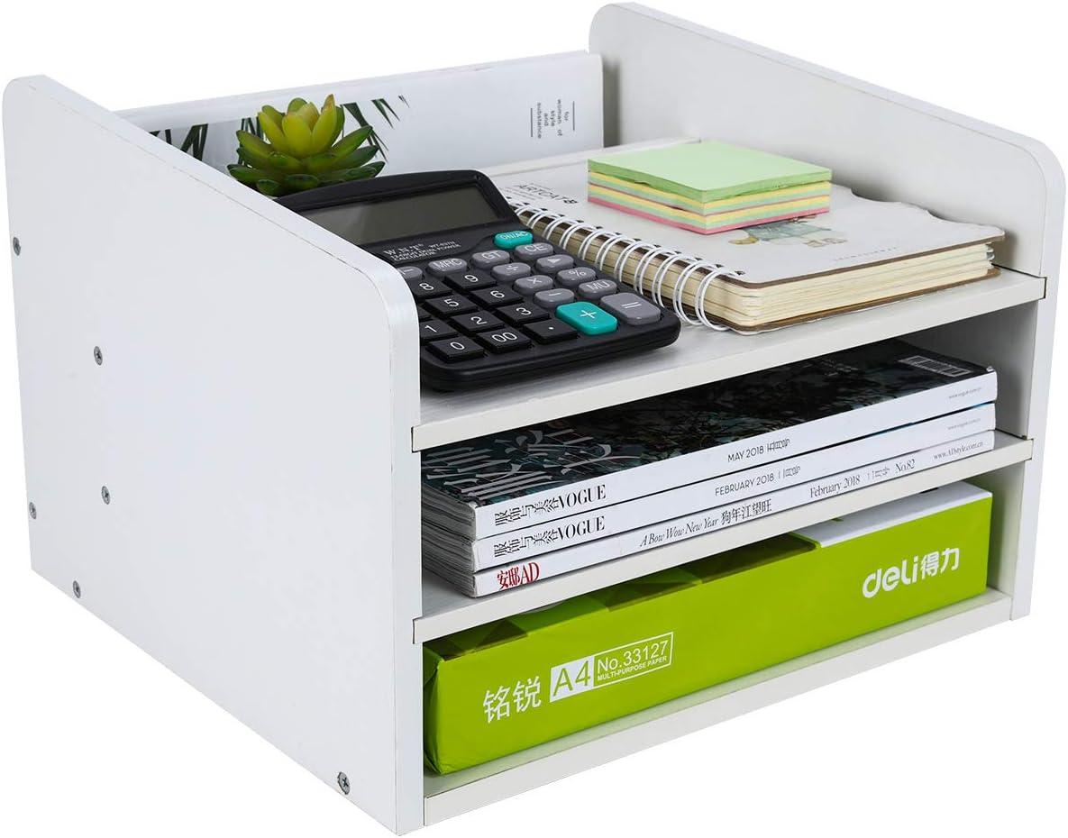 PAG Wood Desktop File Organizer Mail Sorter Magazine Rack Paper Holder Telephone Stand with Adjustable Drawer, White