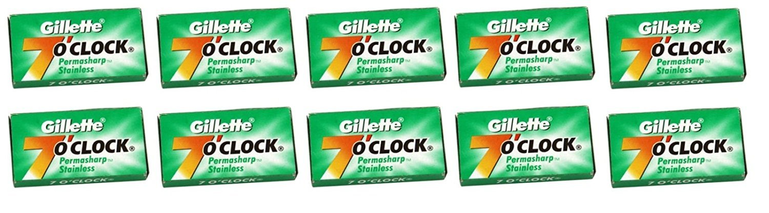 Permasharp 7 O'Clock Green Double Edge Blades, 100 blades. (Pack of 20) Gillette