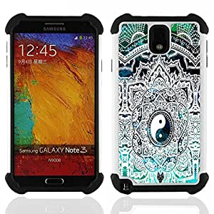 /Skull Market/ - Eight trigrams of Yin and Yang For Samsung Galaxy Note3 N9000 N9008V N9009 - 3in1 h????brido prueba de choques de impacto resistente goma Combo pesada cubierta de la caja protec -