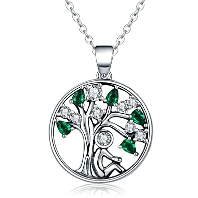 Tree Of Life Necklace 925 Sterling Silver Cubic Zircon Family Tree Yggdrasil Pendant Necklace For Women 18 Inch 8NfKhn77