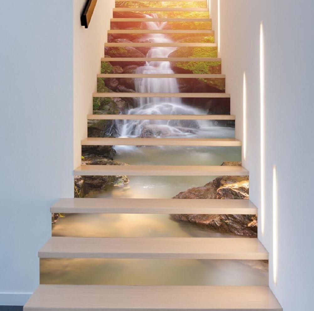 YYH 3D Sunshine Waterfall Scenery Aufkleber Eingang Treppen Paste Refurbished Home Furnishing Dekorative Wandaufkleber HD Wandbilder