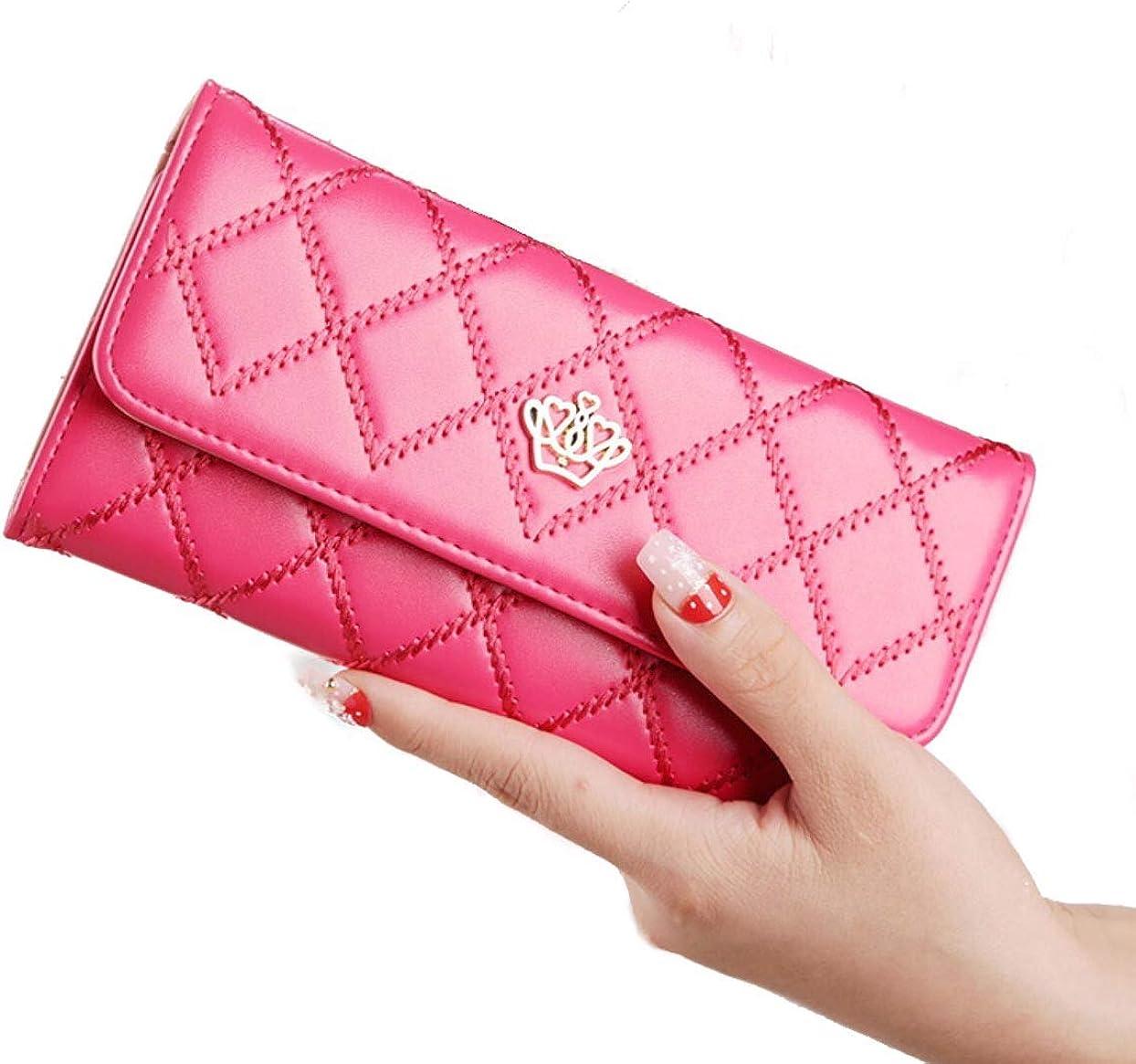 Fashion Women Credit ID Card Long Crown Leather Clutch Purse Handbag Wallet