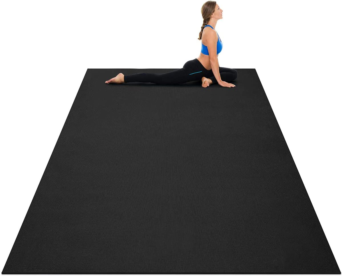 Goplus Large Yoga Mat, 7' x 5' x 8mm and 6' x 4' x 8mm with Straps, Eco Friendly Extra Thick Non Slip Barefoot Fitness Exercise Mat for Home Gym Floor Cardio Workout