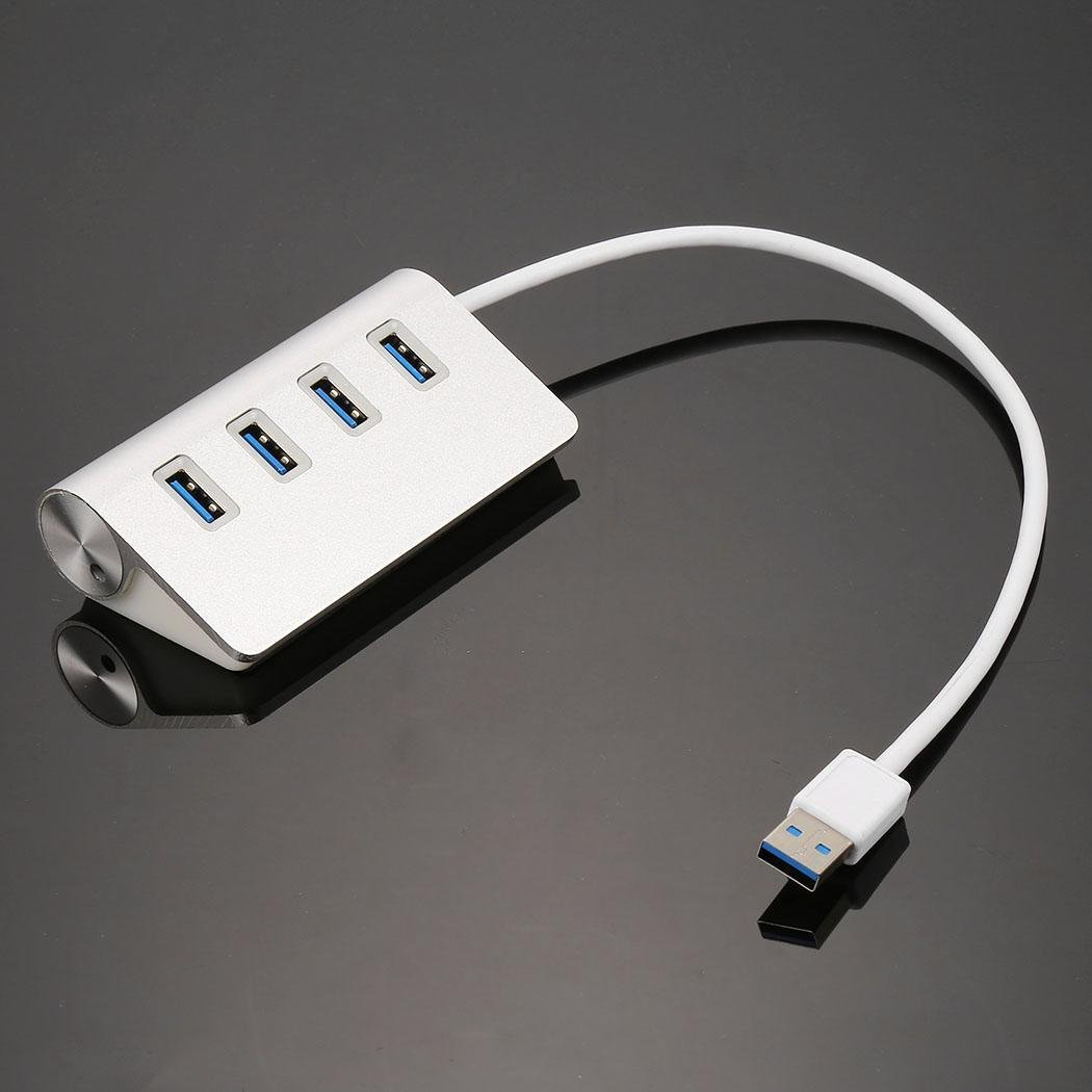 New 4 Port Aluminum Alloy USB 3.0 Concentrator High Speed For PC Laptop