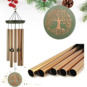 "ASTARIN Wind Chimes Outdoor Deep Tone,36"" Large Memorial Windchimes Amazing Grace with 5 Tuned Metal Tubes,Sympathy Wind Chimes Gifts for Garden Home Yard Hanging Decor,Tree of Life"