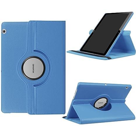 nuovo concetto 5b775 bfaed DETUOSI Huawei Mediapad T3 10 Cover, Huawei T3 10'' Custodia, 360 Degree  Rotante Cover in Pelle PU per T3 10 Pollici Huawei Tablet - Blu Chiaro