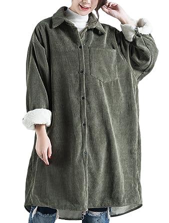 Corduroy Reverskragen Innen Mantel Vogstyle Damen Fleece Jacket Knopf zMUpSV