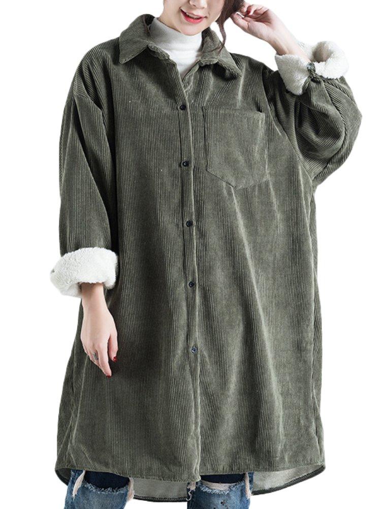 Mordenmiss Women's Fleece Inner Corduroy Coat XL Green