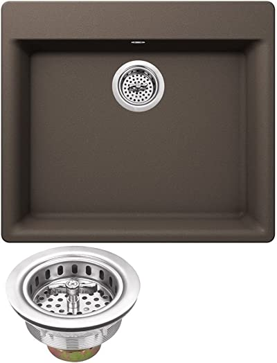 MSGR2421-MOC 23-5 8 x 20-7 8 Quartz Single Bowl Kitchen Sink in Mocha Brown with Twist and Lock Strainer