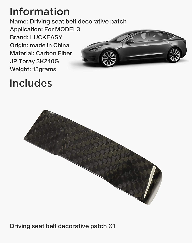 M3-CF25L Matte LUCKEASY Decorative Patch for Tesla Model 3 2017-2020 Real Carbon Fiber Driving Front seat Belt Decorative Patch 2pcs//Set