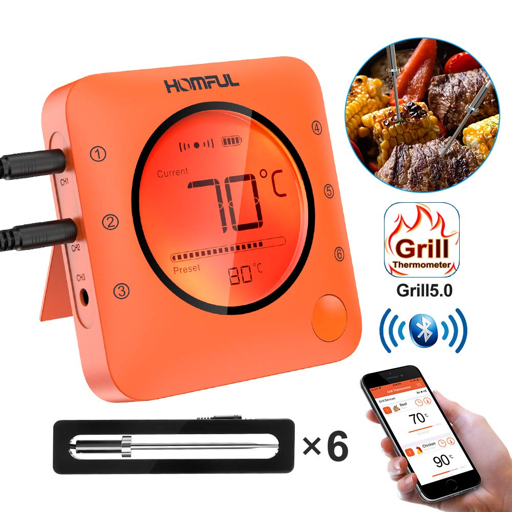 Meat Thermometer, HOMFUL Bluetooth Digital Oven BBQ Bake Thermometer, Wireless Remote APP Controlled Grill Thermometer with 6 Stainless Steel Probes for Cooking, Baking, BBQ, Oven and Smoker by HOMFUL