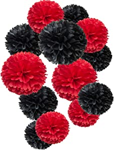 Paper Flower Tissue Pom Poms Party Supplies (black,red,12pc)