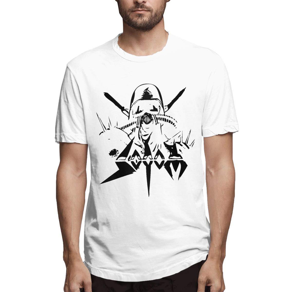 Smooffly Men Sodom Logo Fashion Crew Neck Cotton Short Sleeve Shirts