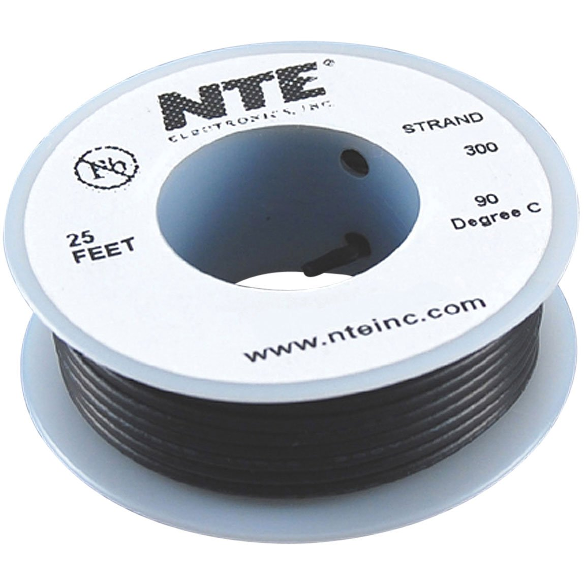 NTE Electronics WH26-00-25 Hook Up Wire, Stranded, Type 26 Gauge, 25 ...