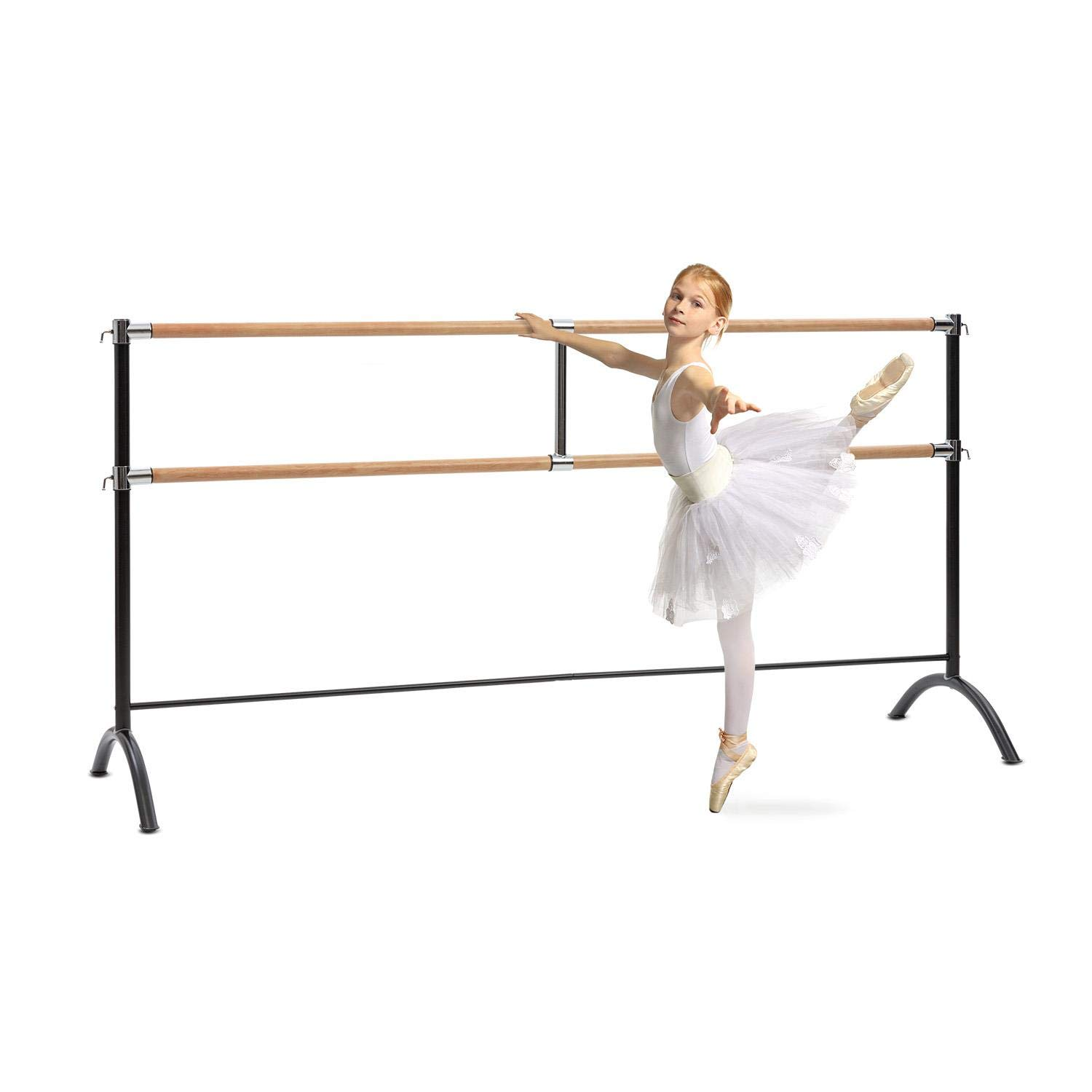 Klarfit Barre Marie • Double Ballet Bar • Free-standing • 220 x 113 cm • 2 x 38 mm Ø • Powder-coated Steel Tubes with Wooden Look • Suitable for Numerous Stretch and Movement Exercises • Black
