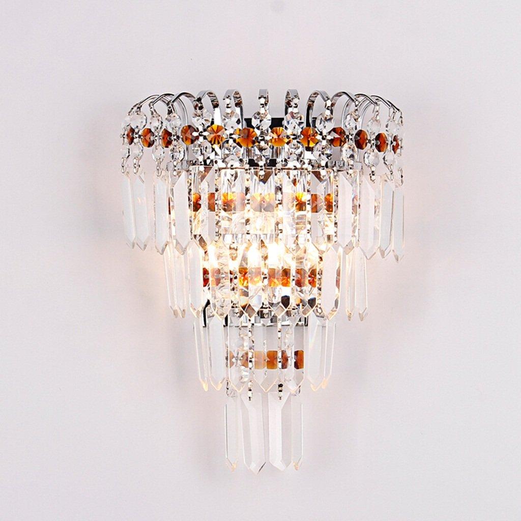 MLMHLMR Moderne minimalistische Kristallwandlampe Nachttischlampe Gangwand Schlafzimmer Wohnzimmer Wandlampe Wandleuchte (Farbe   Silber)