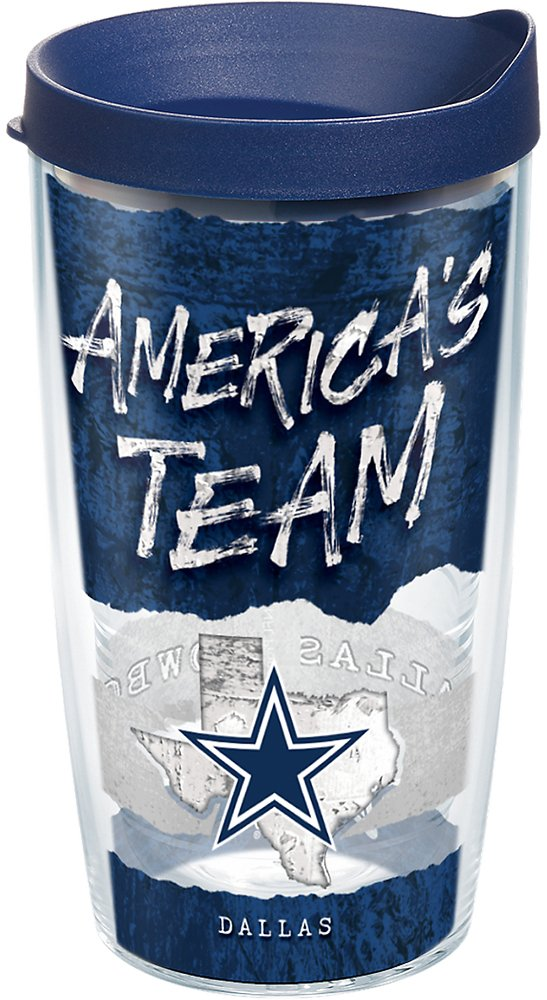 Tervis 1251885 NFL Dallas Cowboys NFL Statement Tumbler with Wrap and Navy Lid 16oz, Clear